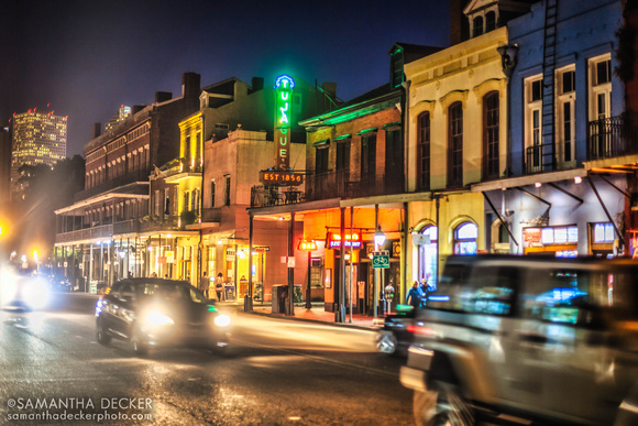Decatur Street at Night, New Orleans.