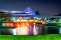 Monorail Passing by the Imagination Pavilion, EPCOT