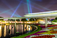Monorail Passing by During the Laser Light Show After IllumiNations Fireworks, EPCOT